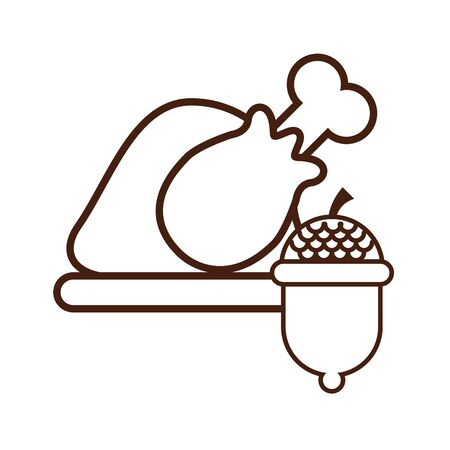 delicious turkey cooking thanksgiving food vector illustration design 版權商用圖片 - 134691773