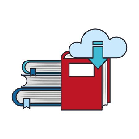 ebook and online library design. books and cloud with download arrow over white background, vector illustration Zdjęcie Seryjne - 134558938