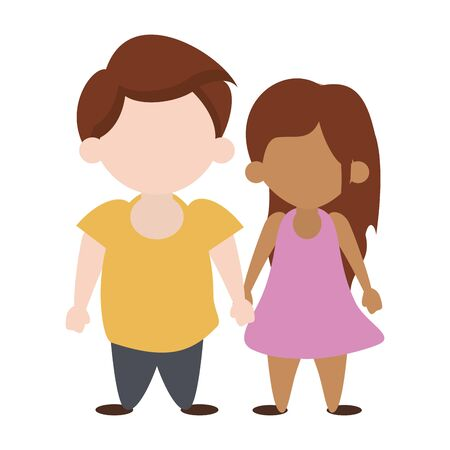 Kids in love boy and girl with holding hands cartoon vector illustration graphic design