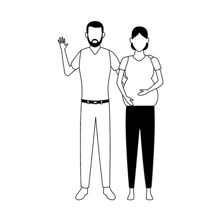 avatar pregnant woman and man icon over white background, vector illustration