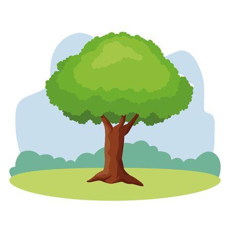 Tree nature cartoon isolated nature outdoors scenery background ,vector illustration graphic design. Ilustracja