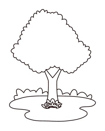Nature tree on grass at nature cartoons in black and white vector illustration graphic design.