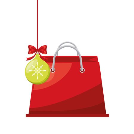 shopping bag paper and christmas ball marketing vector illustration design 向量圖像