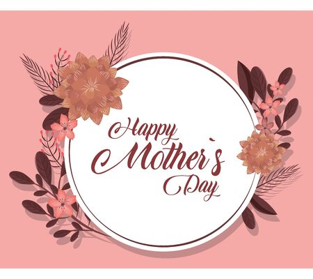 Happy mothers day pink card with flowers vector illustration graphic design 向量圖像