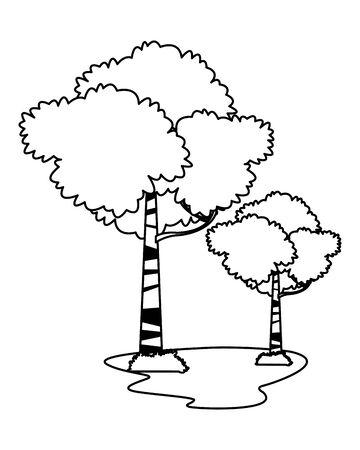 leafy trees icon cartoon in black and white vector illustration graphic design Ilustracja