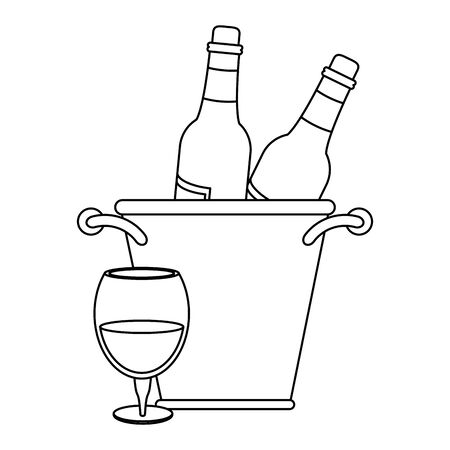 ice bucket with wine bottles and glass of wine over white background, vector illustration Foto de archivo - 134691954