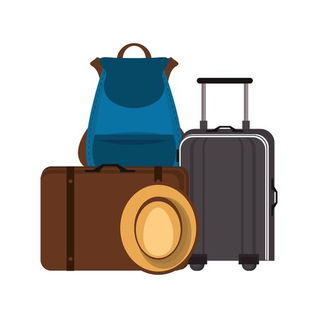 Travel vacations and summer luggage with hat cartoons vector illustration Illusztráció