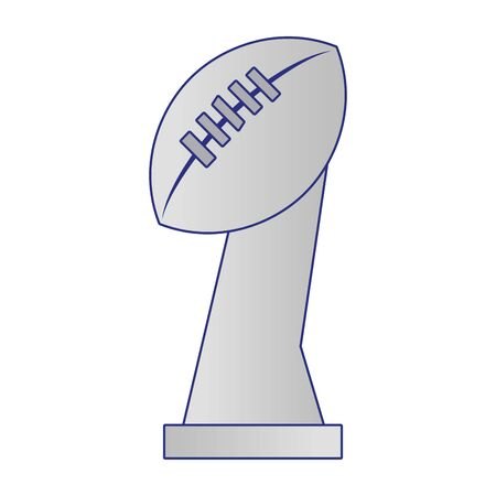 american football sport game champion silver trophy cartoon vector illustration graphic design 向量圖像