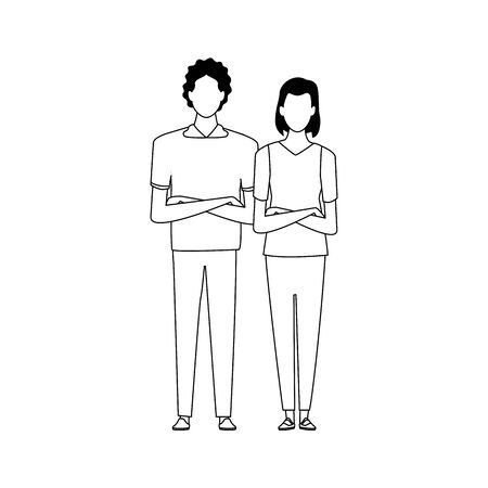 avatar couple icon over white background, black and white design. vector illustration