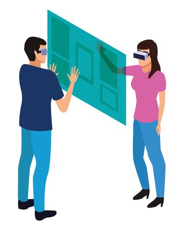 virtual reality technology, young couple living a modern digital experience with headset glassestouching screen cartoon vector illustration graphic design Vetores