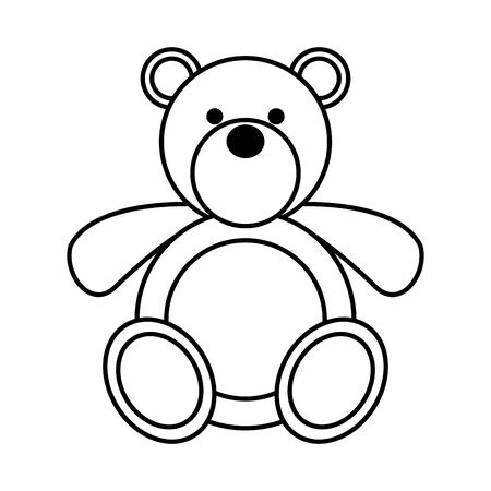 cute little bear teddy toy vector illustration design
