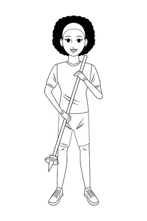cleaning service person afroamerican girl with garbage picker avatar cartoon character in black and white vector illustration graphic design Foto de archivo - 134567467