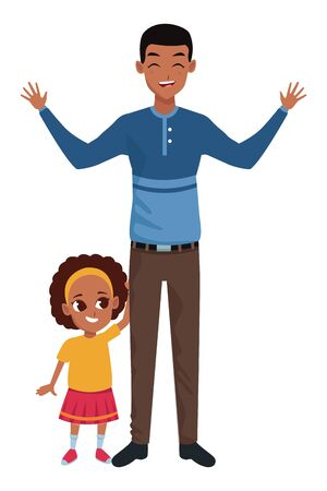 Family single father and little daugther smiling cartoon vector illustration graphic design Vecteurs