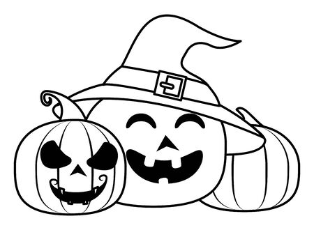 halloween pumpkins with faces and witch hats vector illustration design