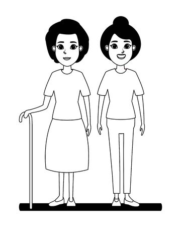 elderly people avatar old woman with cane and old woman with bun profile picture cartoon character portrait in black and white vector illustration graphic design