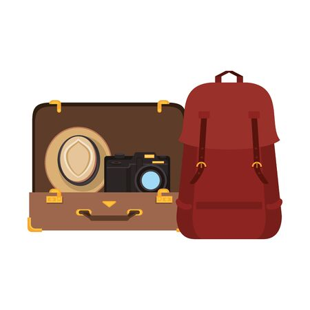 Travel vacations suitcase open with camera hat and backpack cartoons Vectores