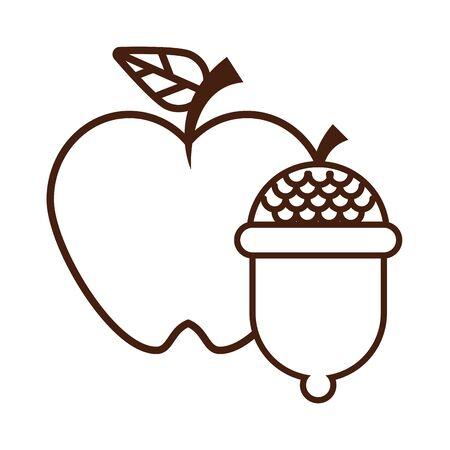 apple fresh fruit and acorns nature icon vector illustration design Foto de archivo - 134571709