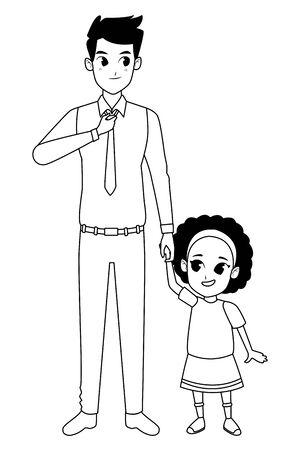 Famille père célibataire et petite fille souriante dessin animé vector illustration graphisme