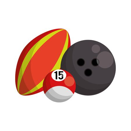 bowling and sport balls icon over white background, vector illustration