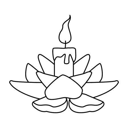 lotus candle icon over white background, vector illustration