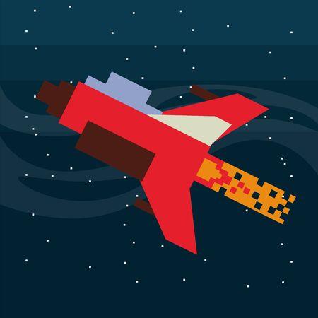 video game spaceship flying in pixelated scene vector illustration design
