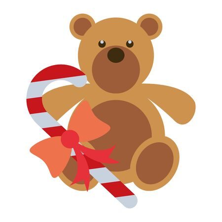 merry christmas sweet cane and bear teddy vector illustration design