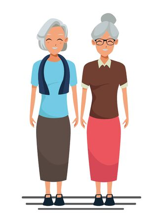 old people smiling and happy friends isolated vector illustration graphic design Illustration