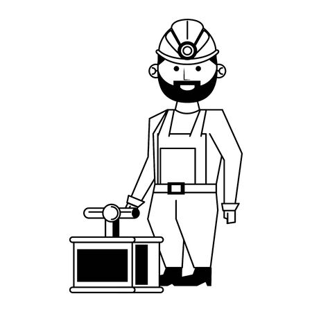 Mining worker with pick and tnt detonator vector illustration graphic design