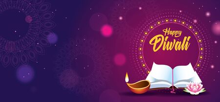 Happy Diwali Indian Celebration Design with candle and book vector illustration