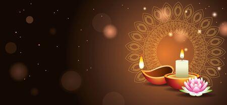Happy Diwali Indian Celebration Design with candle vector illustration