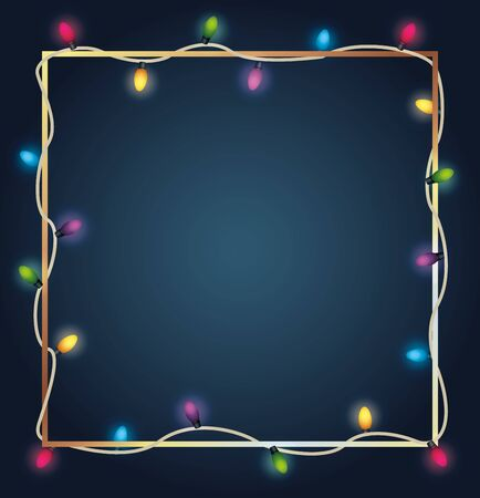 Feliz navidad luces de bombillas de colores en marco cuadrado, diseño de ilustraciones vectoriales