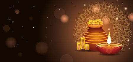 Happy Diwali Indian Celebration Design with candle and coins bag vector illustration Stock Illustratie