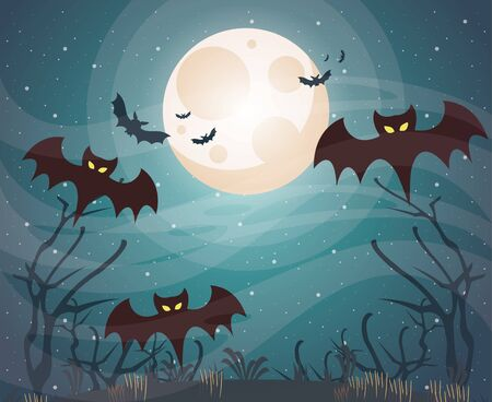 halloween dark scene with bats flying vector illustration design