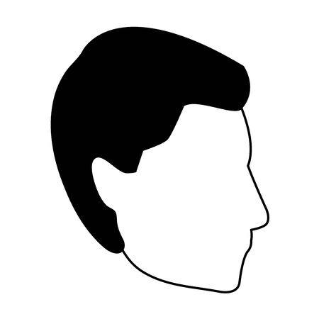 profile man head icon over white background, vector illustration