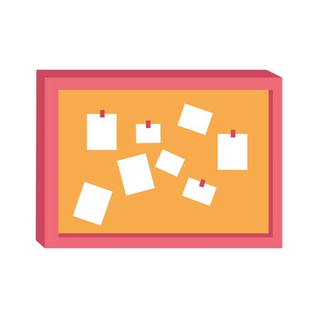 note board with notes icon over white background, vector illustration