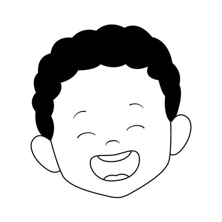 cartoon boy laughing icon over white background, vector illustration Illusztráció