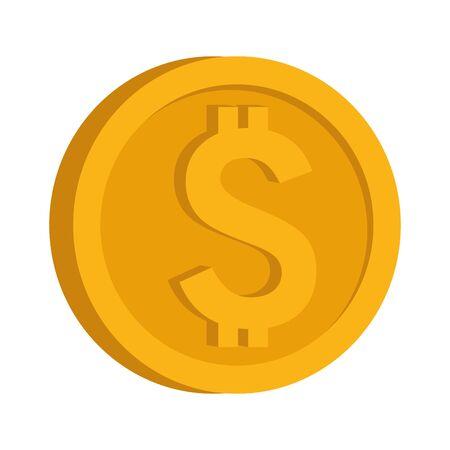 money coin icon over white background, vector illustration Ilustração