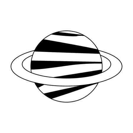 saturn planet icon over white background, vector illustration