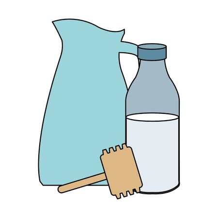 milk bottle and pitcher icon over white background, colorful design. vector illustration