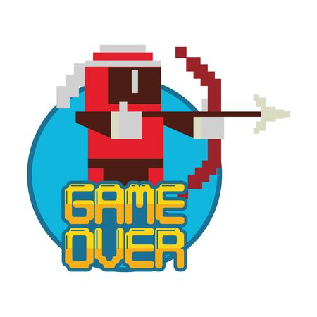 video game pixelated warrior with game over message vector illustration design Illustration