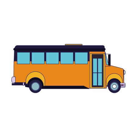 side view of school bus icon over white background, vector illustration