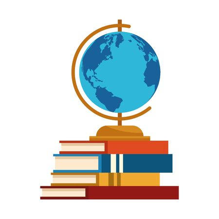globe on stack of books over white background, vector illustration