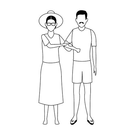 avatar old couple wearing beach clothes over white background, vector illustration