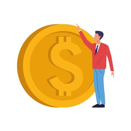 avatar businessman holding a money coin icon over white background, vector illustration