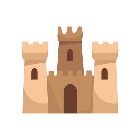 sand castle icon over white background, vector illustration