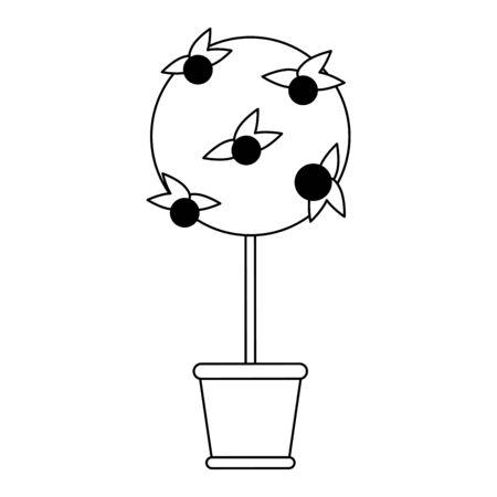 Orange tree in bucket cartoon isolated Designe Standard-Bild - 134629547