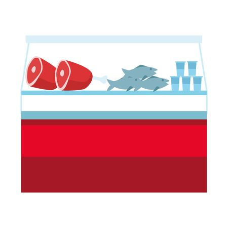 Meat products in supermarket fridge icon over white background, vector illustration
