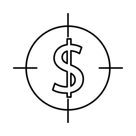 money dollar symbol with target vector illustration design Ilustração