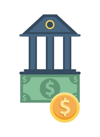 bills and coin money with bank building vector illustration design