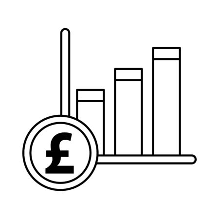financial bars statistics graphic with pound sterling vector illustration design Ilustracja